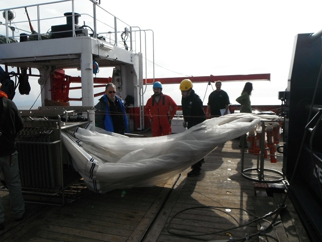 A MOCNESS net for the collection of planktonic samples arranged to be released during the BIOCANT 1 campaign in March, 2012 (image taken from lecturer Acuña's blog: http://joseluisacuna.wordpress.com/)