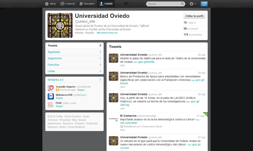 Profile page of the official channel of the University of Oviedo on Twitter: @uniovi_info